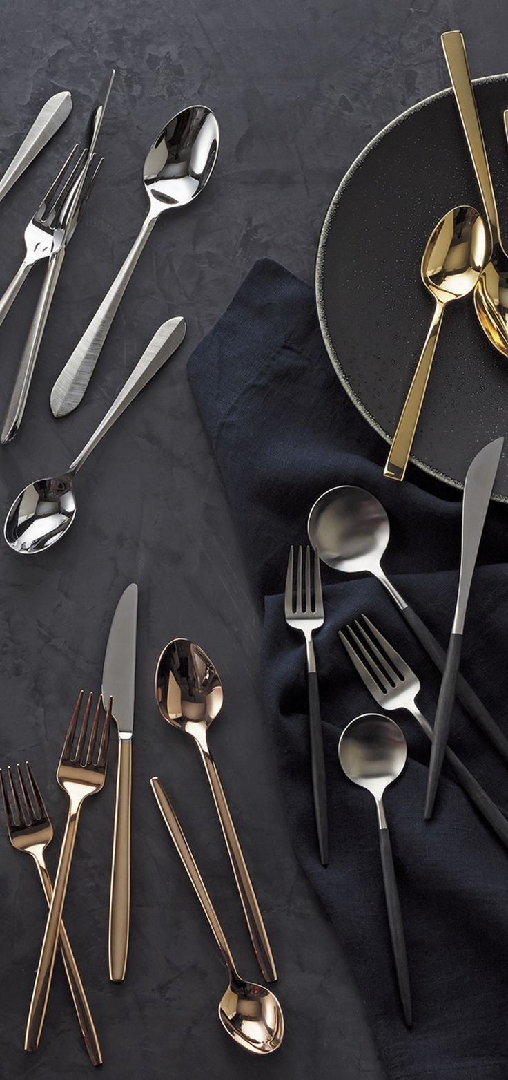 Set the perfect table with silverware sets from Crate and Barrel. From classic to modern, our flatware adds a touch of style to the table. Our place settings are forged from high-quality stainless steel for durability that you can see and feel. Select from spoons, knives and forks in a variety of finishes, including satin and matte. Shop our silverware collections for casual and formal dining.