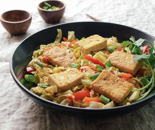 Spicy Stir-Fried Cabbage, Tofu and Red Pepper Soy Awareness