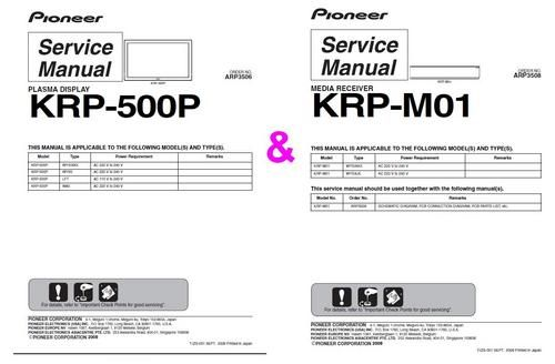 Pioneer Kuro Plasma KRP-500P & KRP-M01 Media Receiver ,Two Original Service Manuals together , in DOWNLOAD