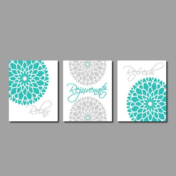 Modern Floral Flower Flourish Artwork Set of 3 Trio Prints Relax Rejuvenate Refresh Turquoise Grey Wall Art Decor Bathroom Bath Home Picture on Etsy, $25.00