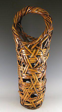 A Tall Japanese Bamboo Ikebana Basket