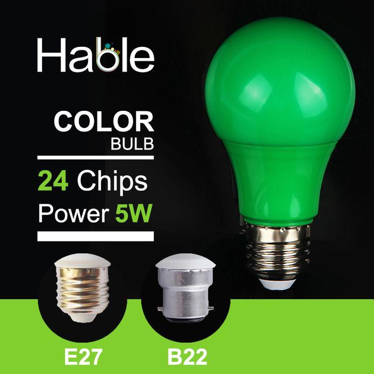 Hable  Factory Quality  220V-240V 5W E27 B22 220V GREEN  LED Bulb Light SMD 2835  Colorful LED Lamp Led Lights For Home