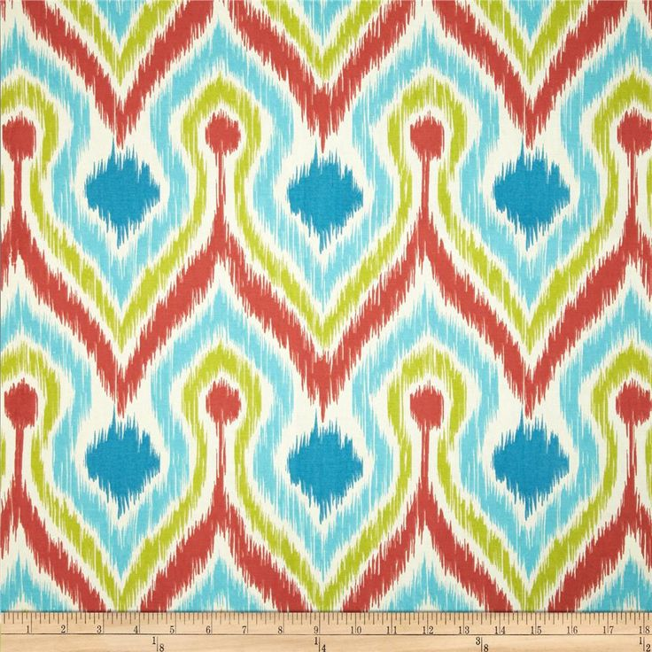 Tempo Ogee Wave Coral/Blue/Green from @fabricdotcom  Screen printed on (approx. 6.5 ounce) cotton duck, this versatile medium weight fabric is perfect for window accents (draperies, valances, curtains and swags), accent pillows, bed skirts, duvet covers, slipcovers, upholstery and other home decor accents. Create handbags, tote bags, aprons and more. Colors include coral red, lime, aqua, turquoise and cream.