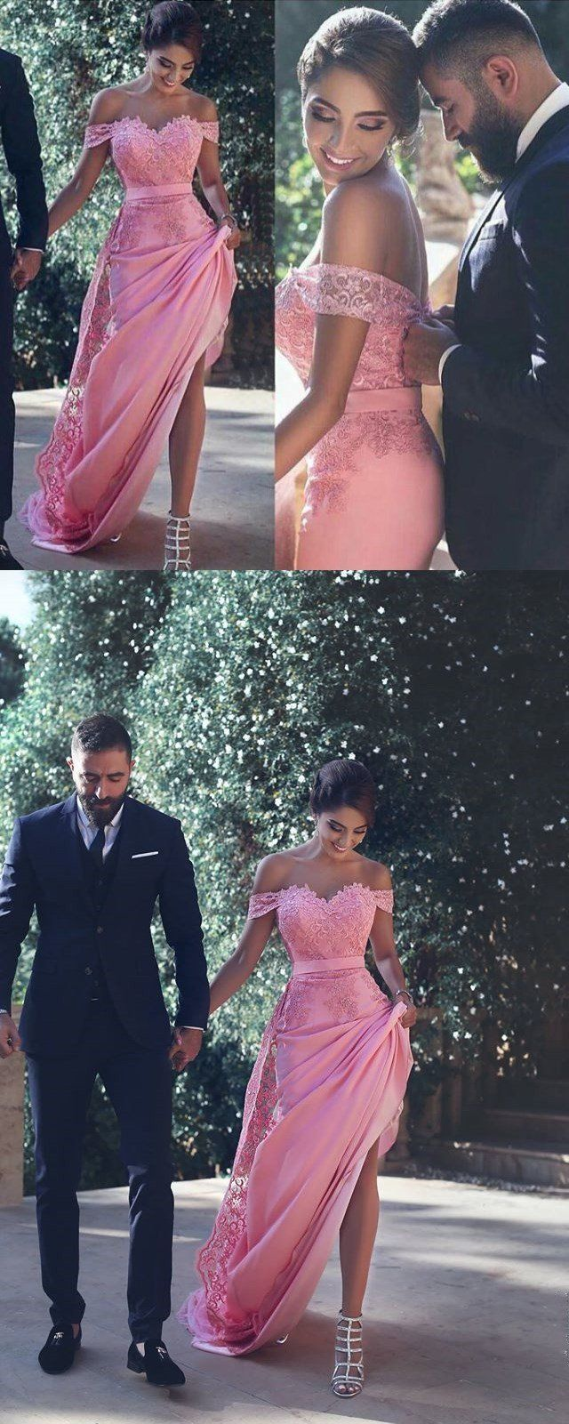 Pink Off Shoulder Detachable A Line Long Arabic Long 2017 New Arrival Formal Prom Dress Prom Gowns by DestinyDress, $165.00 USD