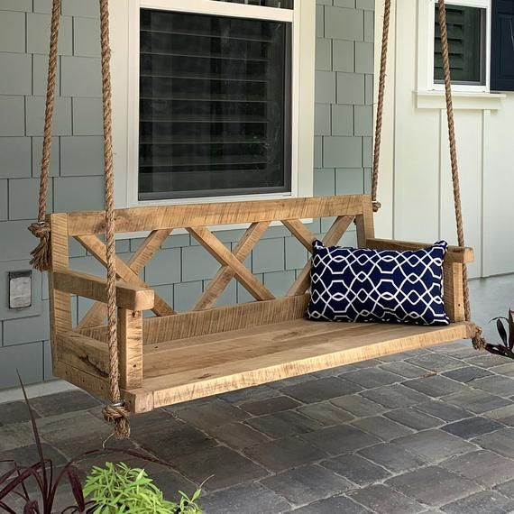 Porch Swing With Farmhouse Details X Back Outdoor Furniture In 2020 Diy Porch Swing Backyard Furniture Porch Furniture