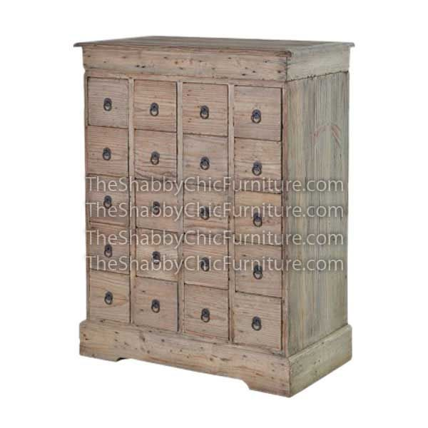Bohemy 20 Drawers Chest  Code : ADP CH 002 Dimension : w:80 x d:46 x h:108 cm Wooden : Pine Finishing : Custom Color  Buy this Chest for your luxury home, your hotel project, your apartment project, your office project or your cafe project with wholesale price and 100% exporter. This Bohemy 20 Drawers Chest has a high quality of Shabby Chic Furniture.