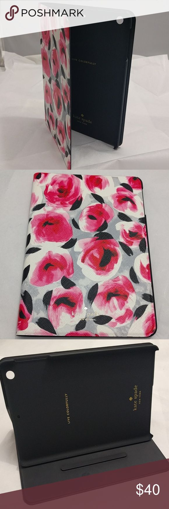 "Kate Spade iPad Mini Mini 3 4 Bifold Floral Case Really cute, brand new but missing the ""E"" in Kate and the ""S"" in Spade on the cover.  Her loss is your gain..lol kate spade Accessories Tablet Cases"