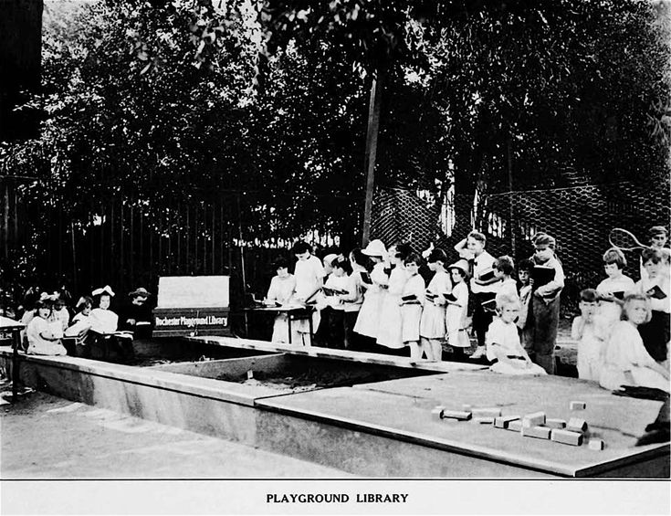 PLAYGROUND   LIBRARY in 1916 Rochester NY -    Libraries  at  Brown  Square,  Front  Street,  and   Hart- ford  Street  Playgrounds