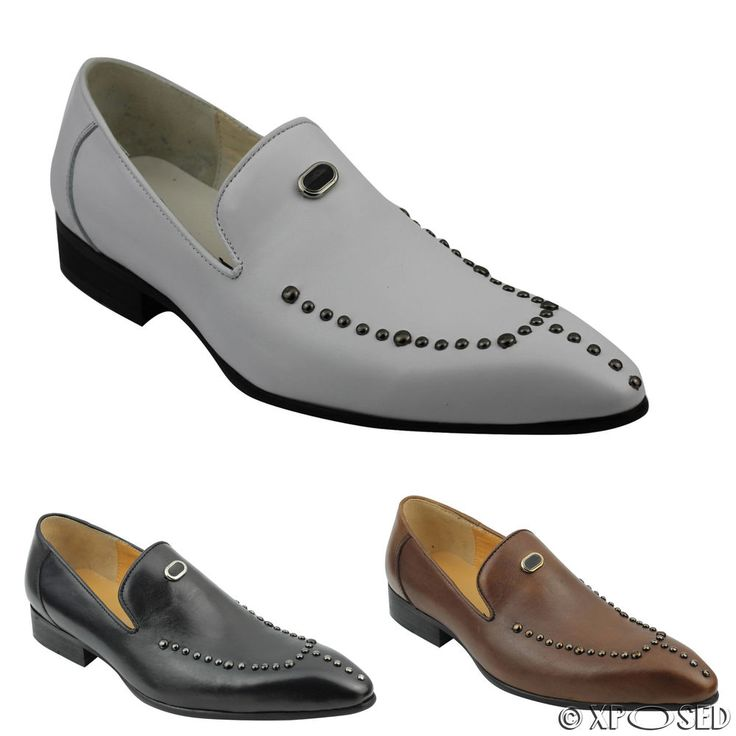 Mens Real Leather Loafers Metal Studded Smart Casual Dress Slip on Retro Shoes