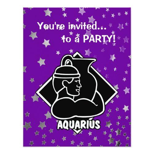 Purple Stars | Aquarius Birthday Zodiac Sign Card