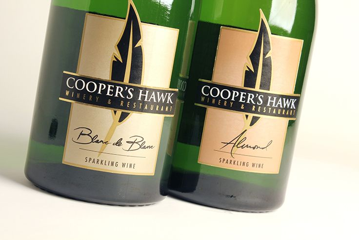 Cooper's Hawk Winery & Restaurants | Blanc de Blanc and Almond Sparkling Wine Labels | by designthis!