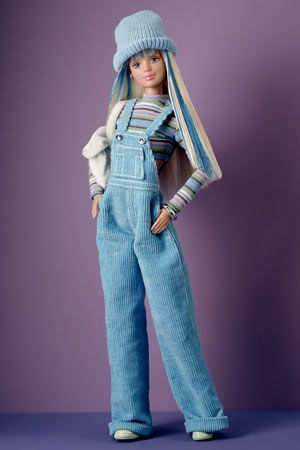 Cool Blue Barbie, 1998  Keeping in step with late-1990s fashion, Barbie hitches up corduroy overalls. Loved Her