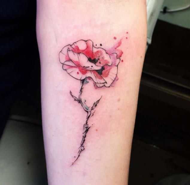 Watercolor Poppy Tattoo by June Jung