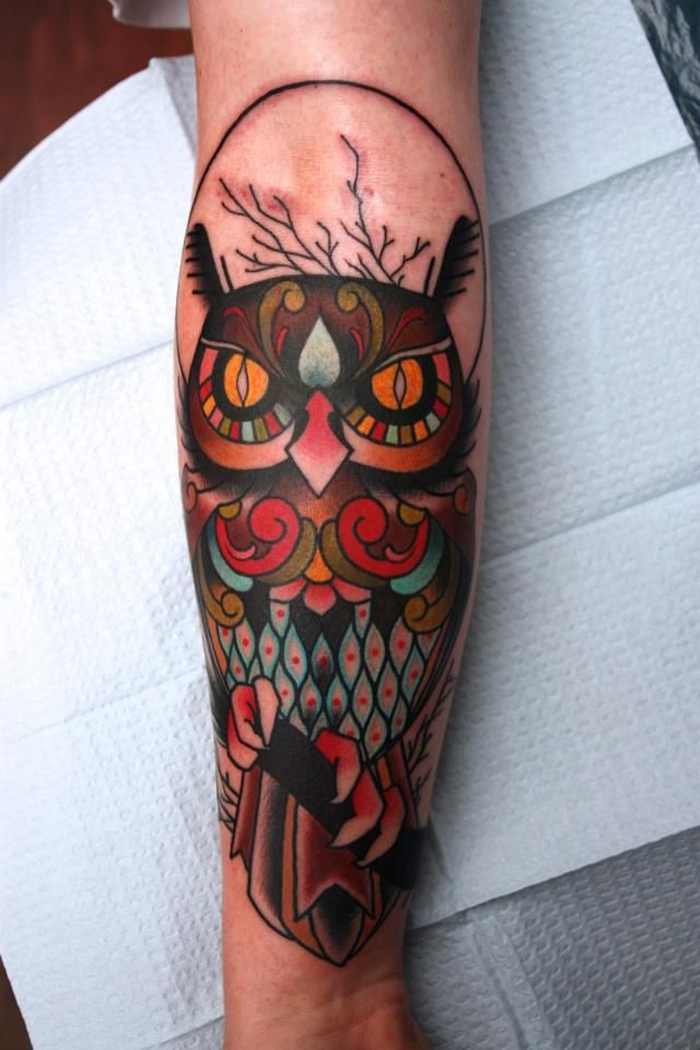 owl-traditional-tattoo-for-arm