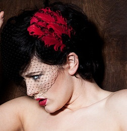 Red and Black Birdcage Veil