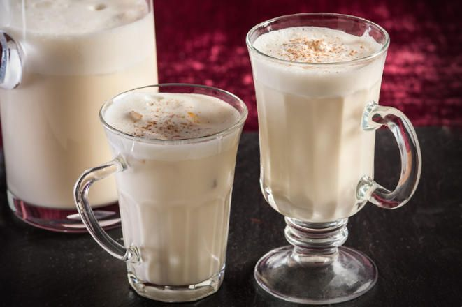 In this easy recipe, the traditional eggnog ingredients of eggs, egg yolks, milk, sugar, cream, and booze are thrown into a blender.