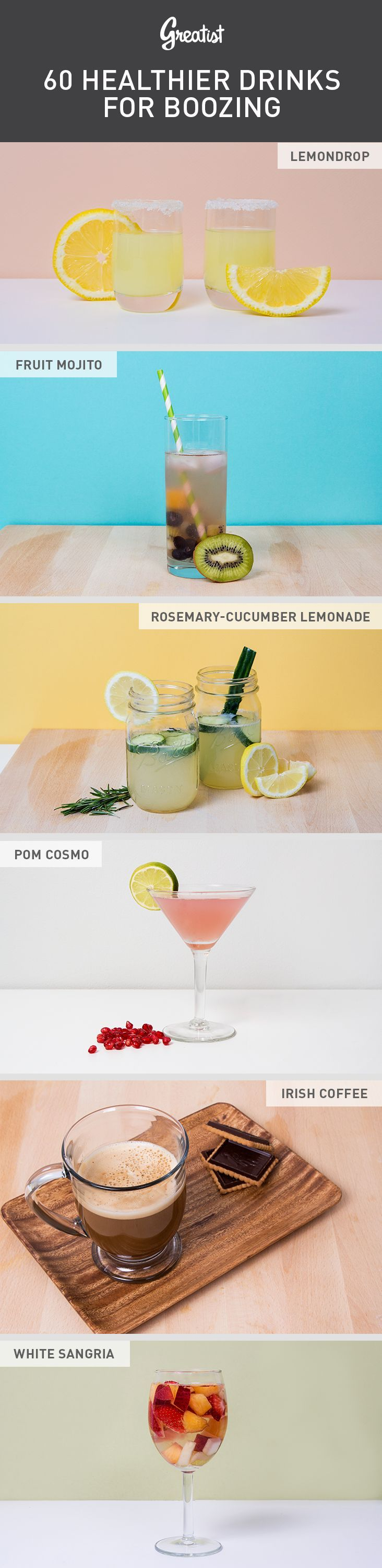 60 Healthier Drinks for Boozing #booze #drinks #cocktails