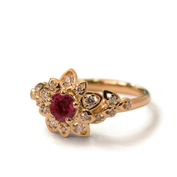 Ruby Art Deco Petal Engagement Ring 14K by DORONMERAVCLASSICS