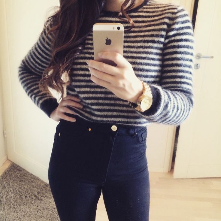High waisted black jeans with Acne cropped knit