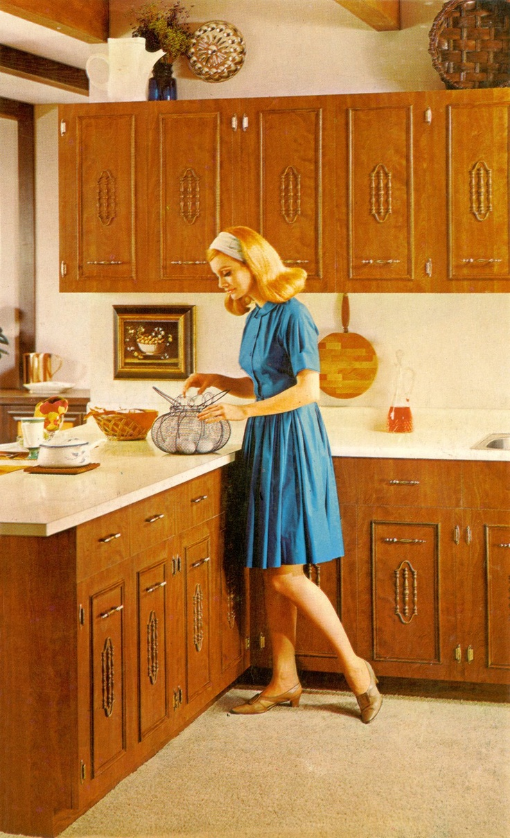 Vintage Kitchen: Wood Cabinets and Carpet