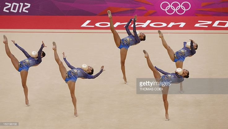 Team Bulgaria performs during the group all-around final of the rythmic gymnastics event of the London Olympic Games on August 12, 2012 at Wembley arena in London.