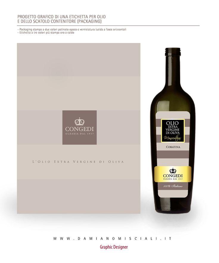 Progetto grafio in coordinato di una etichetta per bottiglia olio e packaging. www.damianomisciali.it