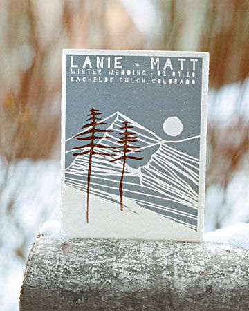 Wintery Save-the-Dates  The mountain scene on the save-the-dates was hand-drawn and then screen-printed onto cotton paper.