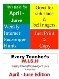 WEEKLY Internet Scavenger Hunts for MLA (April, May, June)
