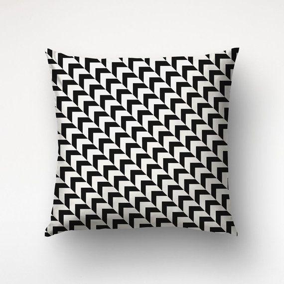 Black White Pillow Chevron Pattern Scandinavian by Macrografiks
