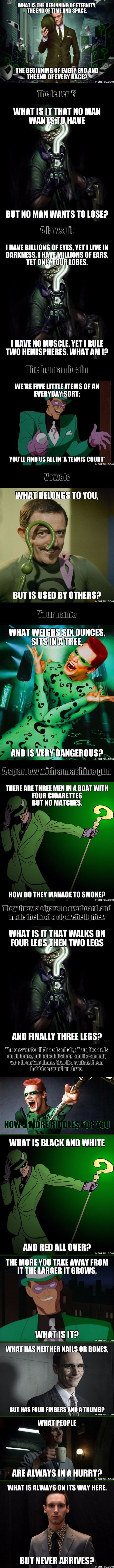 13 riddles from the Riddler, can you solve them? Newspaper, glove, hole, Russians, tomorrow.