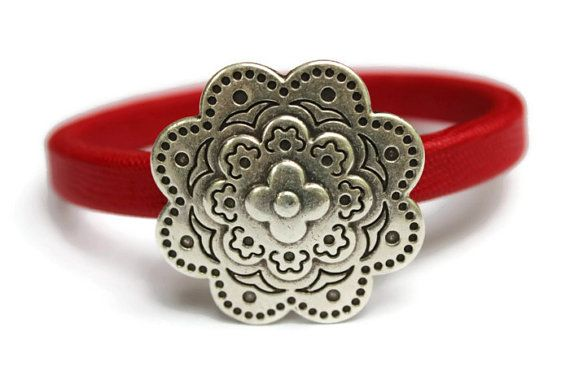 Flower Bracelet Leather Flower Bracelet by PepperPotLeatherShop, $45.99