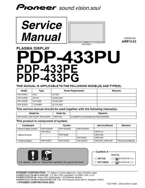 Pioneer PDP-433PG Kuro Plasma TV , Service Manual 100 per cent satisfaction guaranteed  100 DOWNLOAD