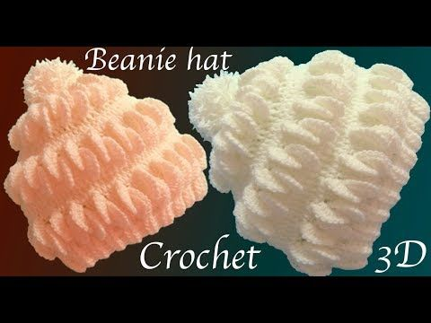 Gorro a Crochet en punto 3D hojas de merengue tejido tallermanualperu - YouTube