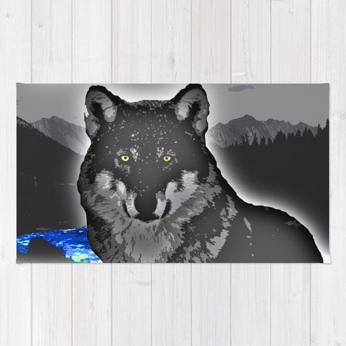 Buy Area & Throw Rugs with design featuring Wolf by Animilustration and adorn your home with both style and comfort. Available in three sizes (2' x 3', 3' x 5', 4' x 6').