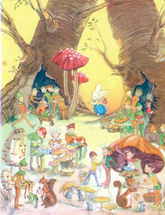 POOKIE and friends in the woods, Nursery print rabbit, 1950s vintage print, nursery decor rabbit
