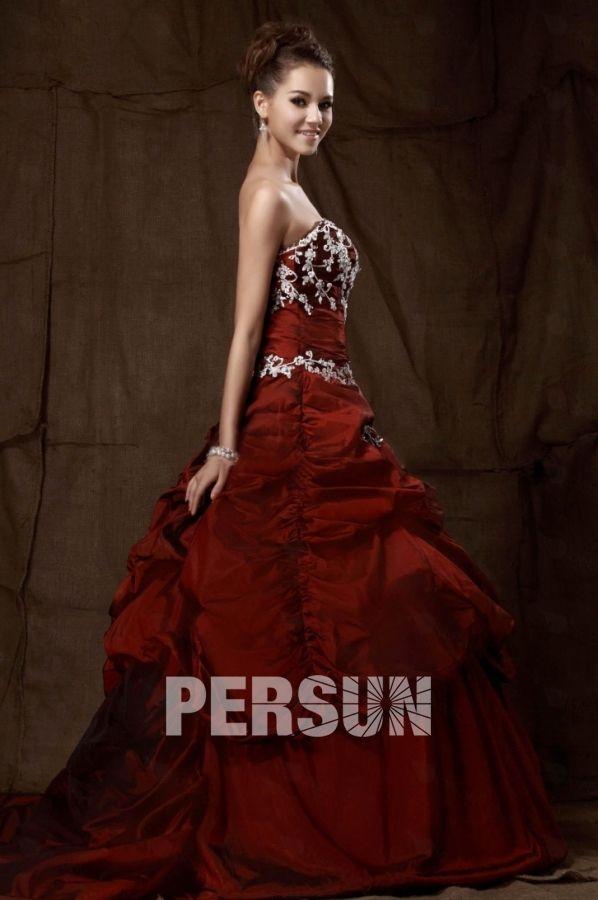 Elegant Princess Sweetheart Embroidery Red Wedding Dress Dressesmallau - DressesMallAU.com