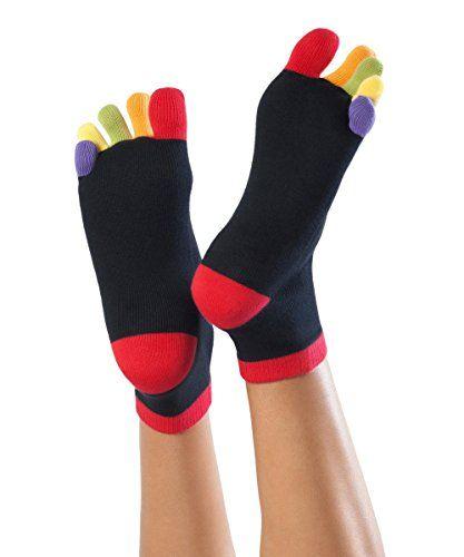 Knitido Rainbows | Chaussettes 5 doigts courtes avec orteils multicolores, en 95% coton, pour femmes et hommes: 95% COTON : douillettes,…