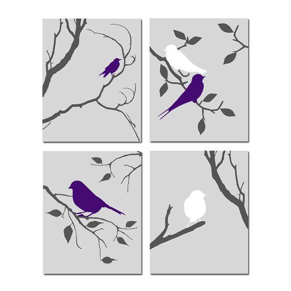 Bird Wall Art uccello opera uccello Decor grigio e parete camera da letto viola melanzana arte e arte uccello grigio Set di 4 stampe di uccello - SCEGLI i COLORI