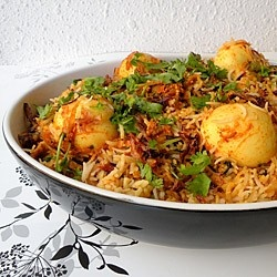 Egg Korma Biryani: can be made GF with a substitute.