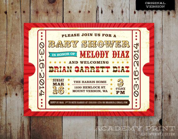 Printable Baby Shower Invitation  Circus / by AcademyPrint on Etsy, $20.00