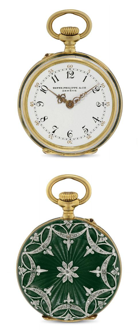 PATEK PHILIPPE. A FINE 18K GOLD, PLATINUM, ENAMEL AND DIAMOND-SET OPENFACE KEYLESS LEVER PENDANT WATCH  SIGNED PATEK, PHILIPPE & CIE, GENEVE, MOVEMENT NO. 146'011, CASE NO. 250'671, MANUFACTURED IN 1907
