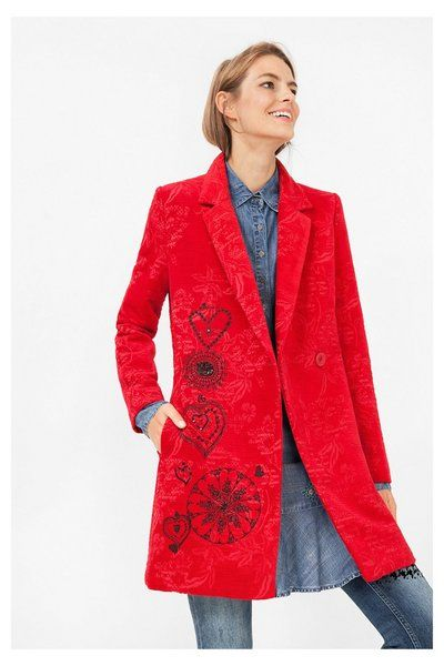 Red Women's Crossover Coat - Diana Desigual. Discover coats ready to take on winter! May be too 'scarlet' red judging by this image