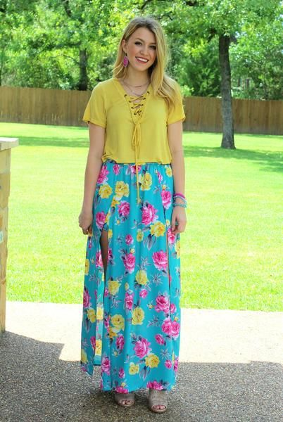 Floral Fever Turquoise Maxi Skirt