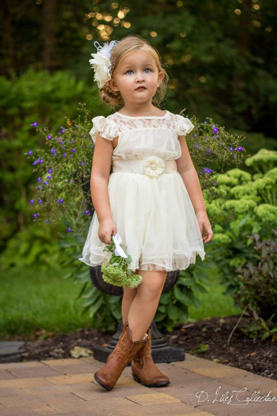The Charlotte  Ivory Lace Chiffon Flower Girl door DLilesCollection, $68.99