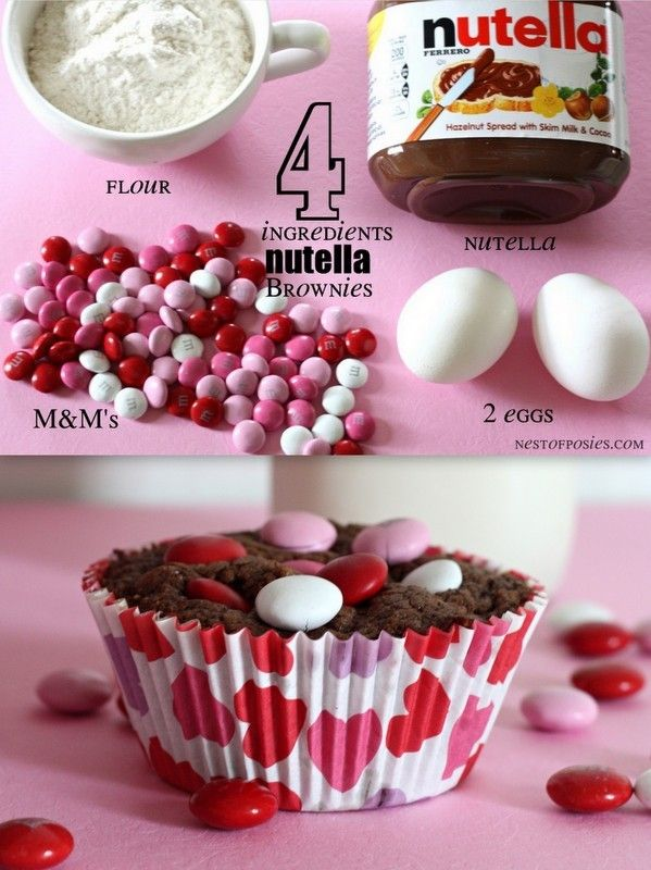 Nutella Brownies just 4 ingredients via Nest of Posies #recipe #valentines