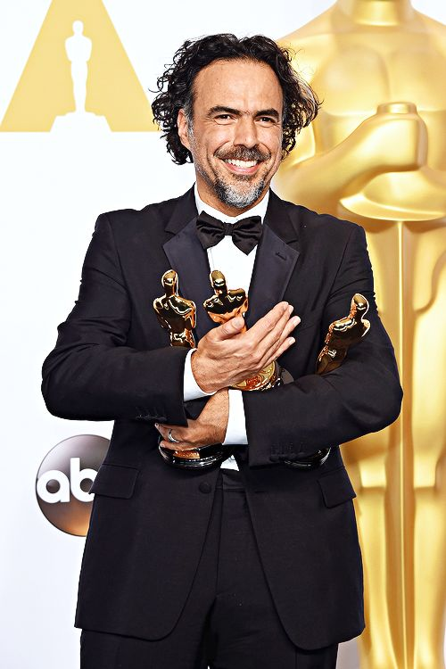 The people of Mexico: Alejandro Gonzalez Inarritu, winner of Best Original Screenplay, Best Director, and Best Motion Picture, for 'Birdman' poses in the press room during the 87th Annual Academy Awards at Loews Hollywood Hotel on February 22, 2015 in Hollywood, California.