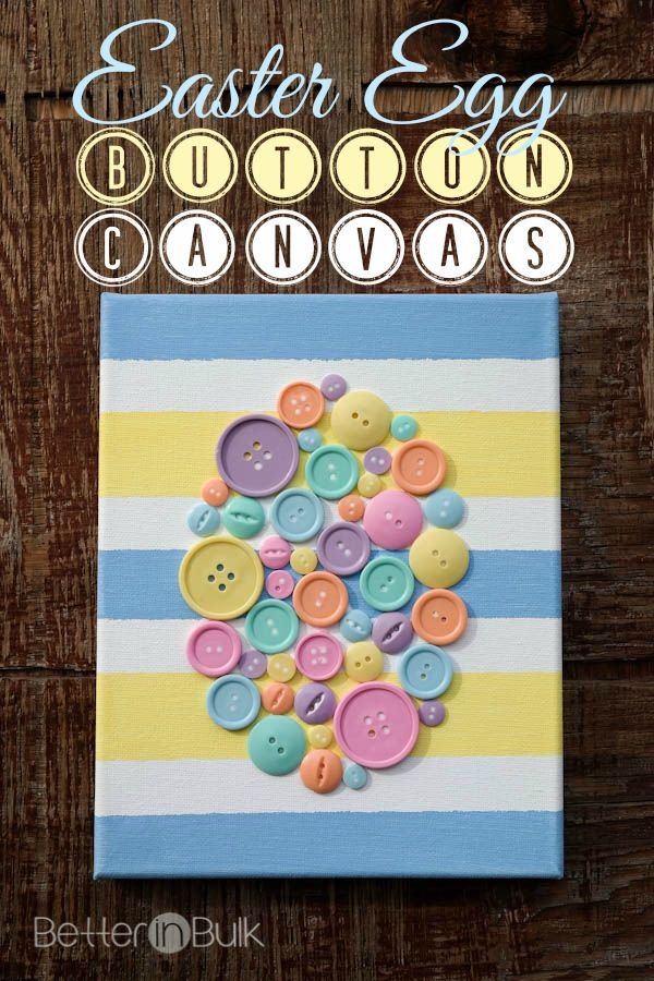 DIY Spring Easter Egg Button Canvas Craft  - this easy craft project is perfect for the spring! It's easy to make and it can be displayed year after year to celebrate the start of the spring!