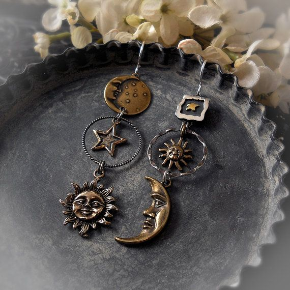 Skydance - Sun Moon Star Celestial Earrings, Cosmic Mixed Metals, Solstice Festival Jewelry, Sterling Silver, Bronze, Gypsy, Bohemian Beach Wedding, Sci Fi Jewelry, Sky Earring, Astronomy, Astrology, Gypsy Indie Asymmetrical Earrings, by MoaMontgomery at Etsy