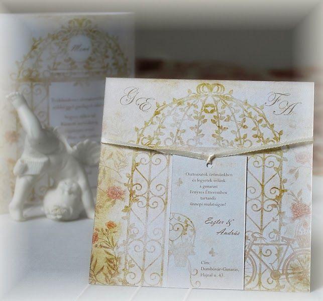 Egyedi tervezésű esküvői meghívók: Vintage esküvői meghívó, rózsákkal