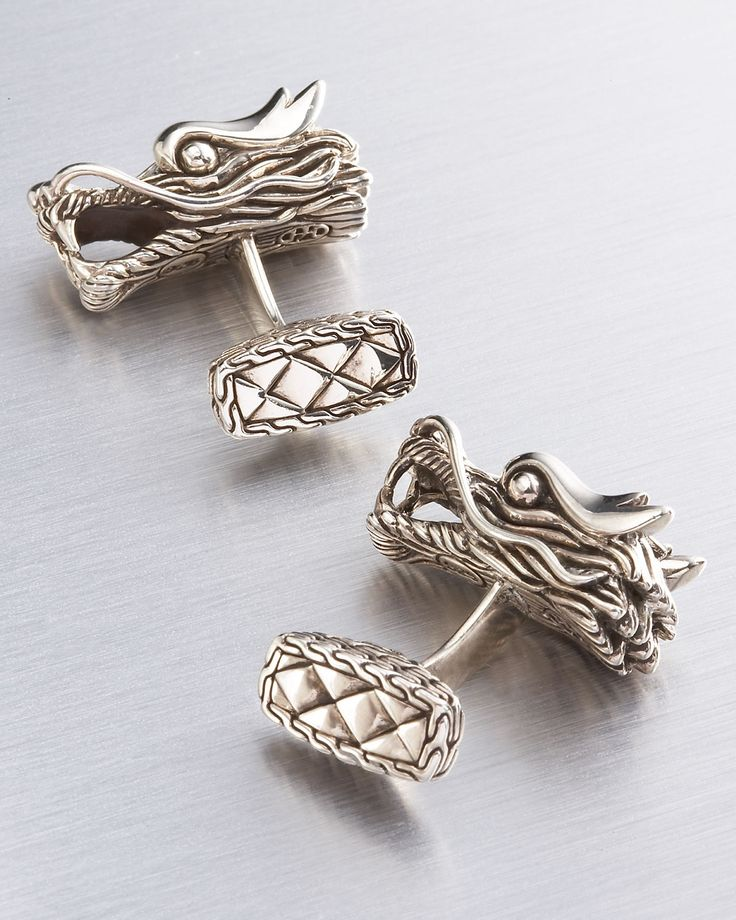 John Hardy Naga Silver Dragon Cuff Links in Silver for Men. #cufflinks #silver #dragon